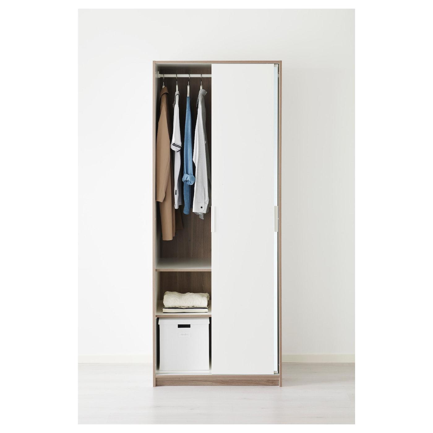 How To Make A Free Standing Wardrobe With Sliding Doors: TRYSIL Wardrobe White/mirror Glass 79 X 61 X 202 Cm