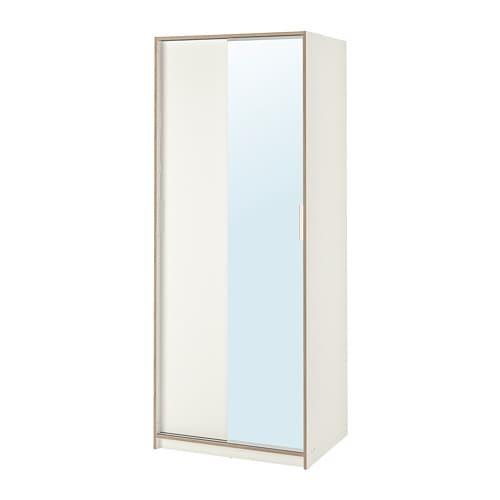 TRYSIL Wardrobe White Mirror Glass 79 X 61 X 202 Cm