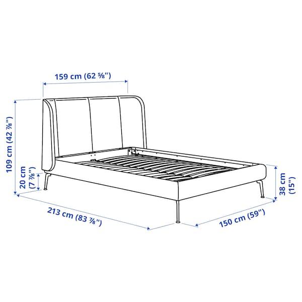 TUFJORD Upholstered bed frame, Gunnared blue, Standard Double