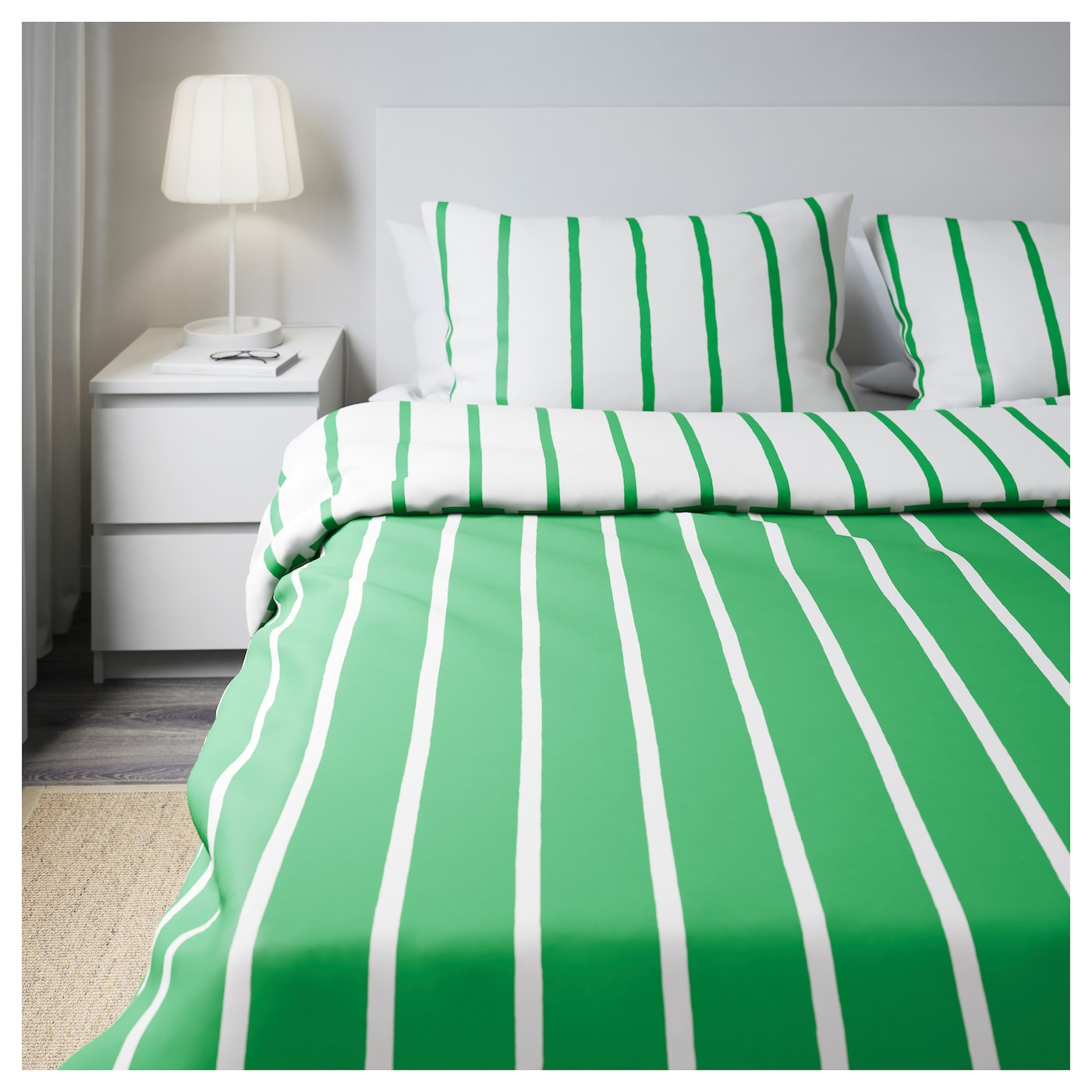 tuvbr cka quilt cover and 4 pillowcases green white 200x200 50x80 cm ikea. Black Bedroom Furniture Sets. Home Design Ideas