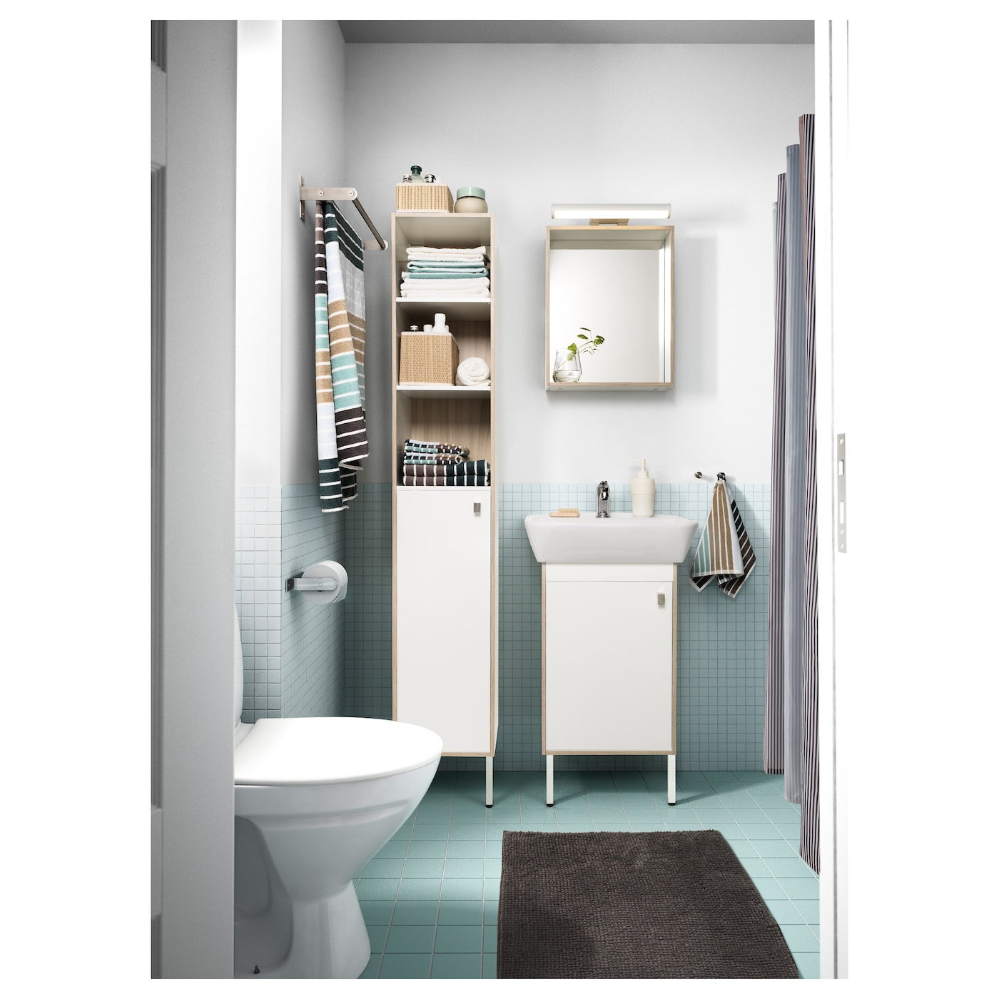 ikea bathroom storage cabinets tyngen high cabinet white ash effect 30x29x177 cm ikea 17543