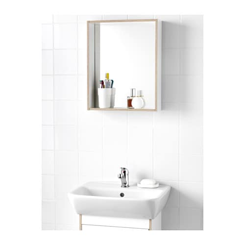 Tyngen mirror with shelf white ash effect 40x12x50 cm ikea for Miroir 30 cm largeur
