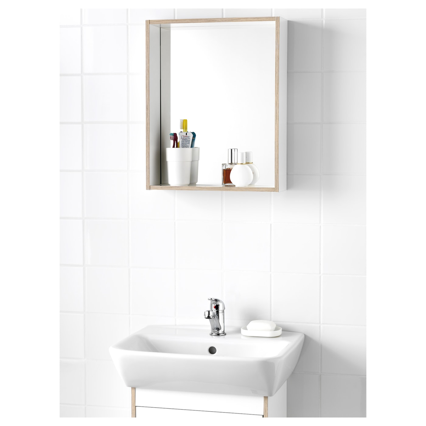 Tyngen mirror with shelf white ash effect 40x12x50 cm ikea - Ikea portaoggetti ...