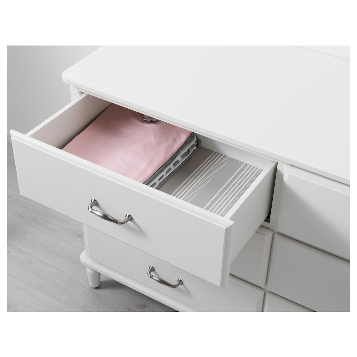 IKEA TYSSEDAL chest of 6 drawers Smooth running drawers with pull-out stop.