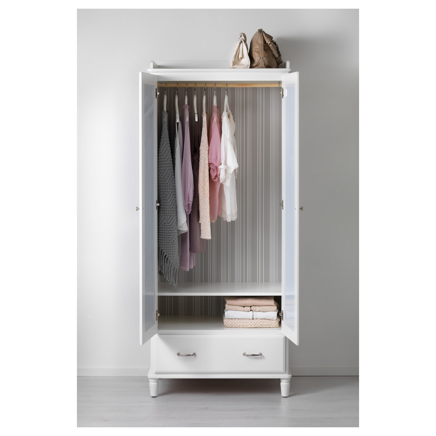 TYSSEDAL Wardrobe White Mirror Glass 88x58x208 Cm