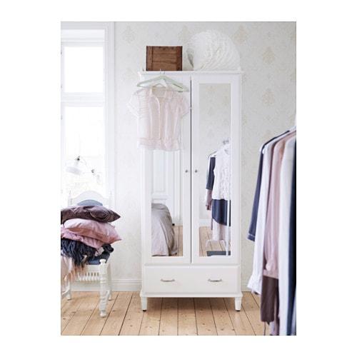 Tyssedal Wardrobe White Mirror Glass 88x58x208 Cm Ikea