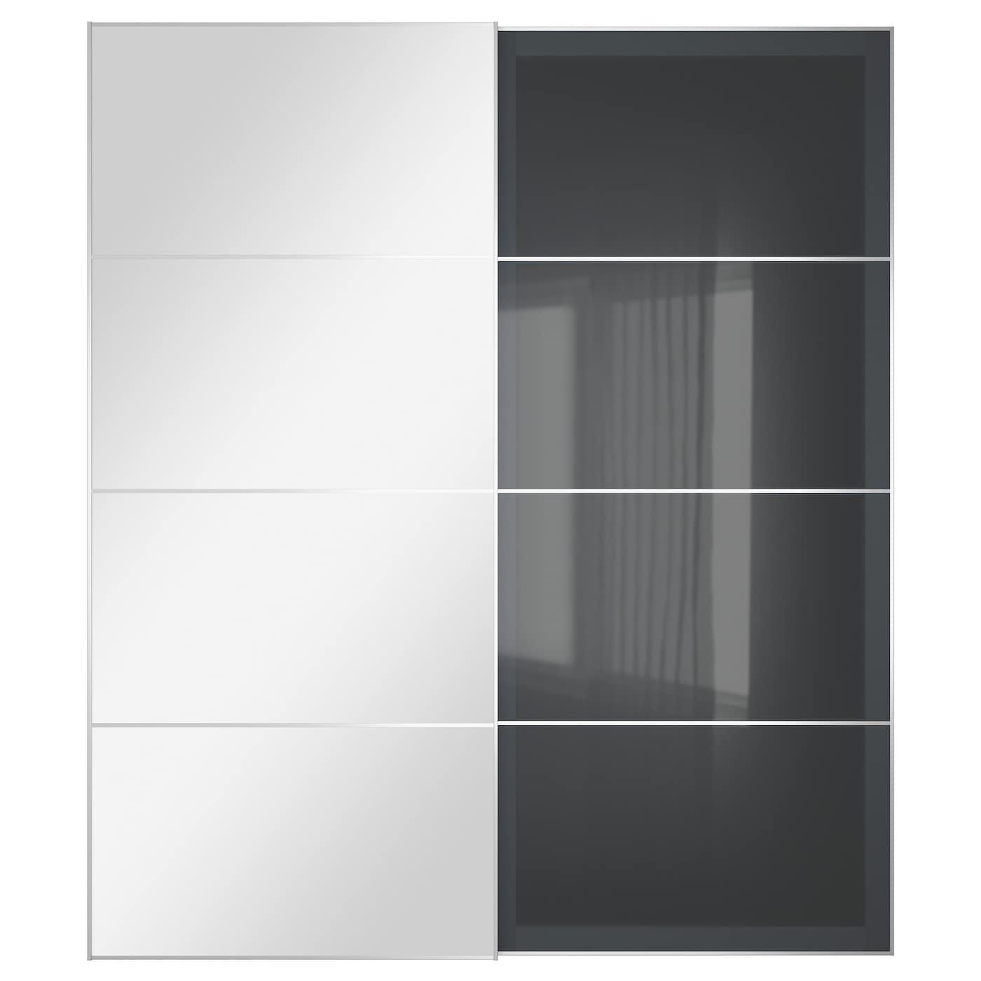 UGGDAL AULI Pair of sliding doors Mirror glass grey glass 200x236