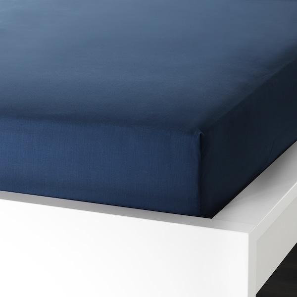 ULLVIDE Fitted sheet, dark blue, Double