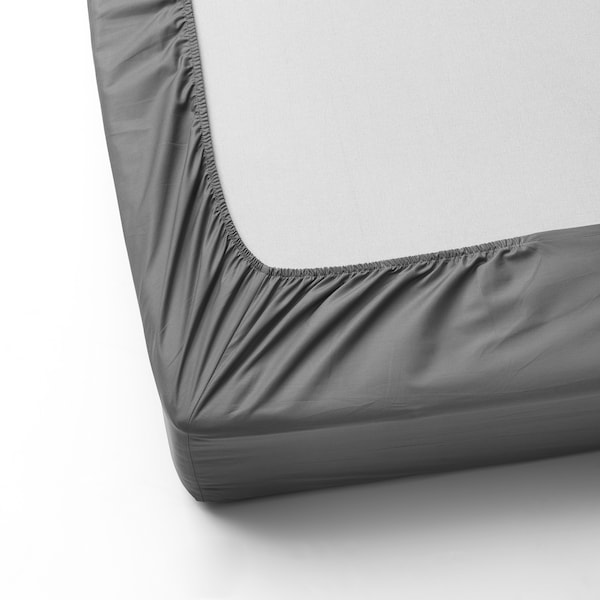 ULLVIDE Fitted sheet, grey, Single
