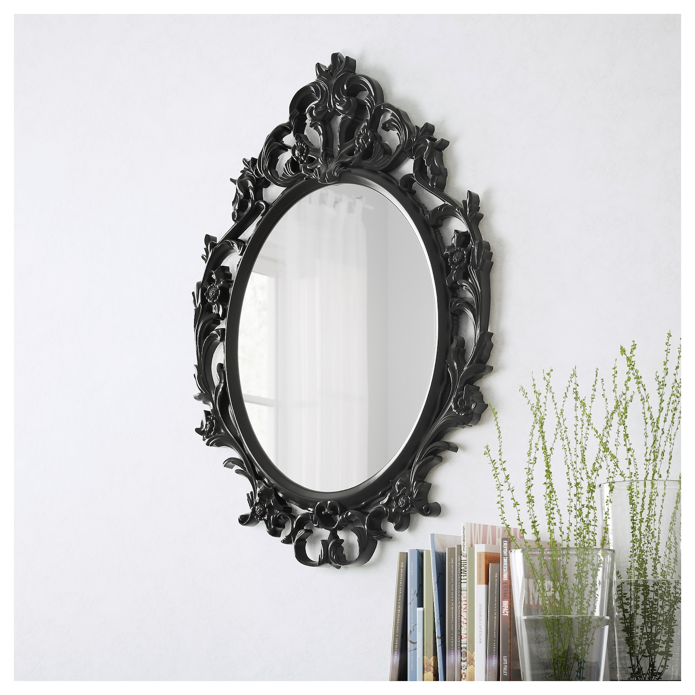 ung drill mirror oval black 59x85 cm ikea. Black Bedroom Furniture Sets. Home Design Ideas