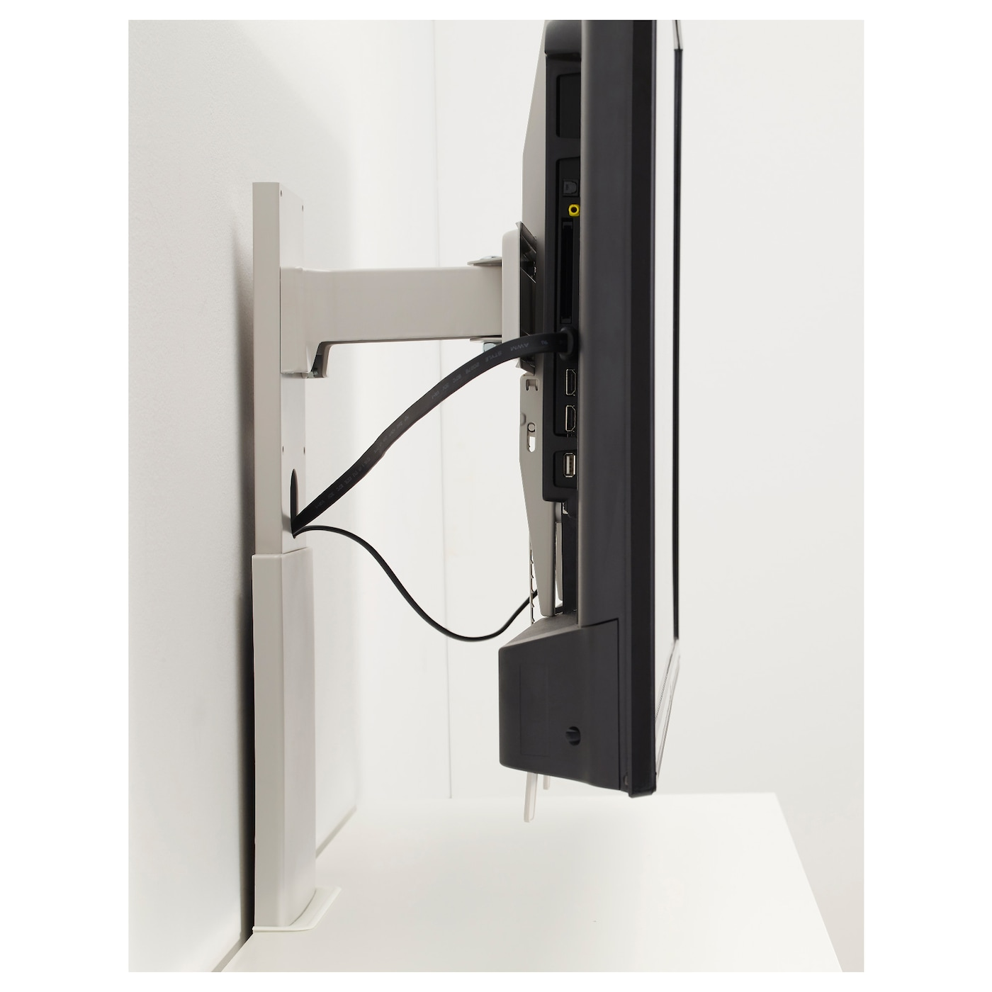Uppleva bracket for tv swivel light grey 37 55 ikea for Cache cable mural