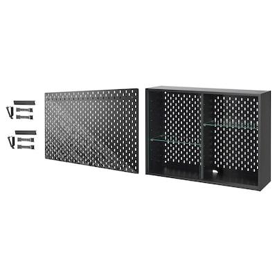 UPPSPEL Glass-door cab/pgbrd/2 acc sets, dark grey/black