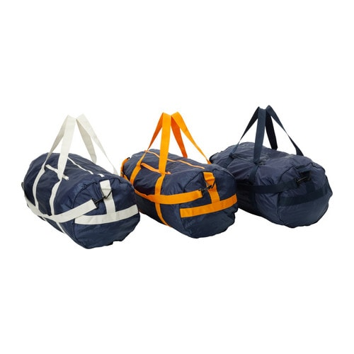 UPPTÄCKA Bag, foldable IKEA This bag is handy if you need an extra bag when travelling.   It folds flat into a pouch and fits easily in any handbag.