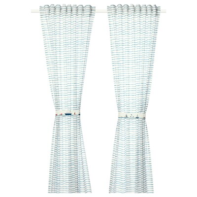 UPPTÅG Curtains with tie-backs, 1 pair, waves/boats pattern/blue, 120x300 cm