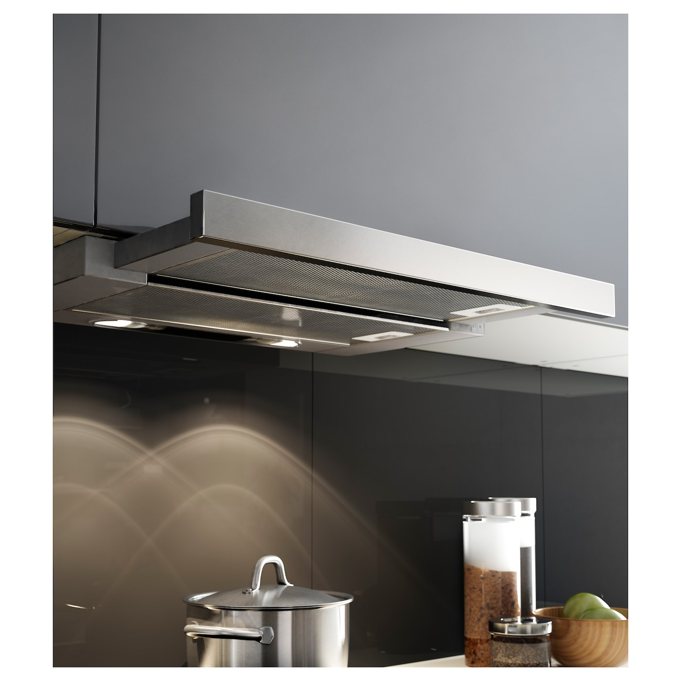 IKEA UTDRAG built-in extractor hood Pulls out to provide a larger exhaust area.