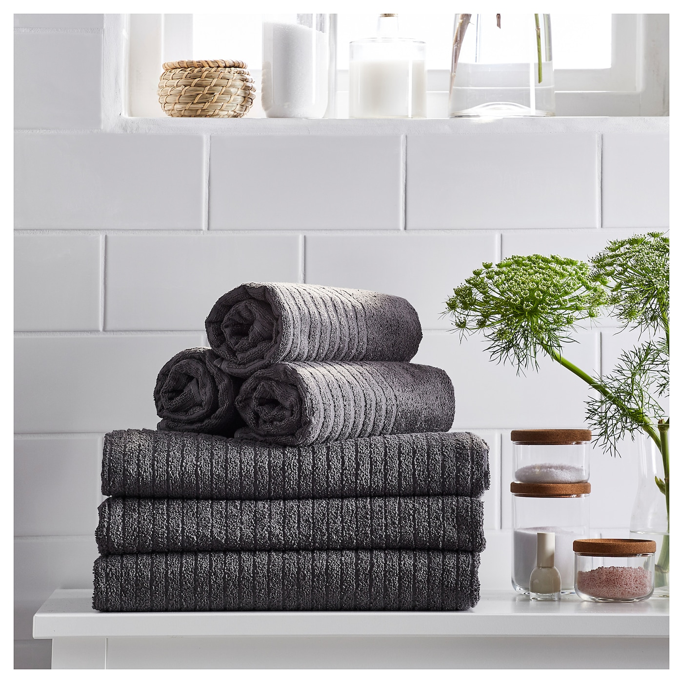 IKEA VÅGSJÖN hand towel A terry towel that is soft and absorbent (weight 390 g/m²).