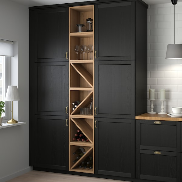 VADHOLMA Wine shelf, brown/stained ash, 40x37x40 cm