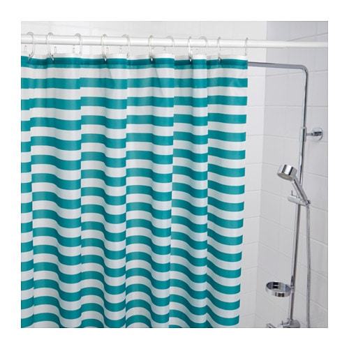 IKEA VADSJN Shower Curtain Densely Woven Polyester Fabric With Water Repellent Coating