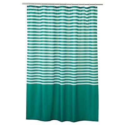 VADSJÖN Shower curtain, dark green, 180x180 cm