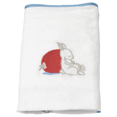 VÄDRA Cover for babycare mat, rabbit pattern/white, 48x74 cm