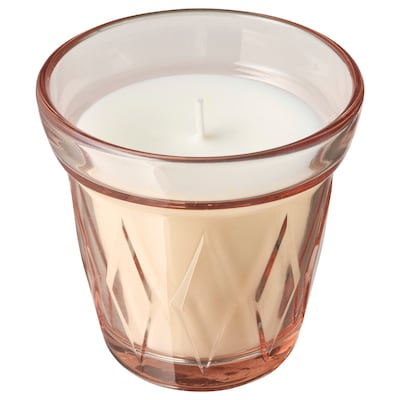VÄLDOFT Scented candle in glass, Lingonberry/pink, 8 cm