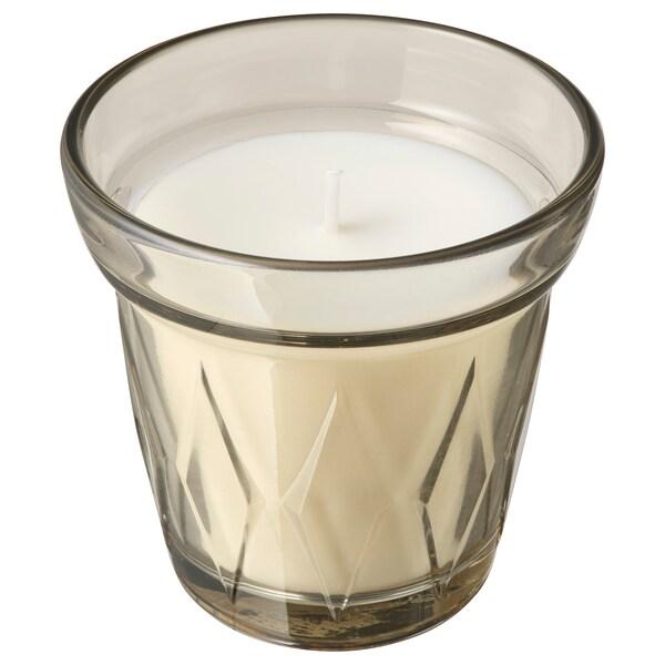 VÄLDOFT Scented candle in glass, Rhubarb elderflower/beige, 8 cm