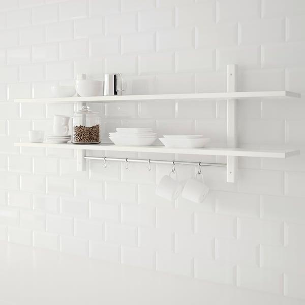 VÄRDE Wall shelf with 5 hooks, white, 140x50 cm