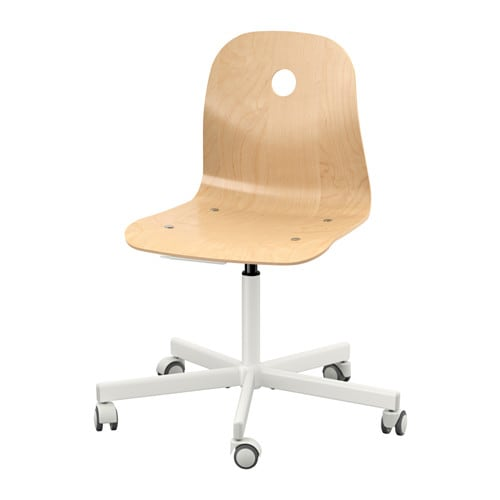 Ikea Vagsberg/Sporren Swivel Chair in birch with white swivel legs on castors.