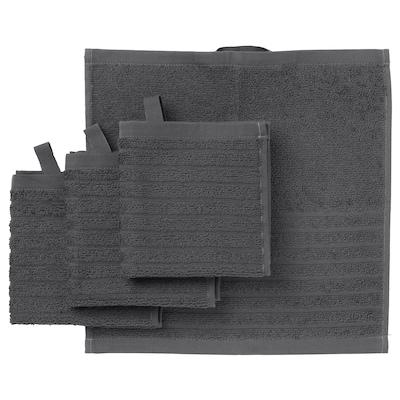 VÅGSJÖN Washcloth, dark grey, 30x30 cm