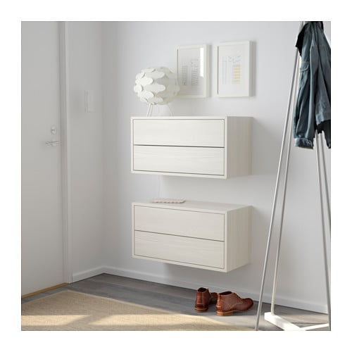 Valje wall cabinet with 2 drawers larch white 68x35 cm ikea - Caisson mural de rangement ikea ...