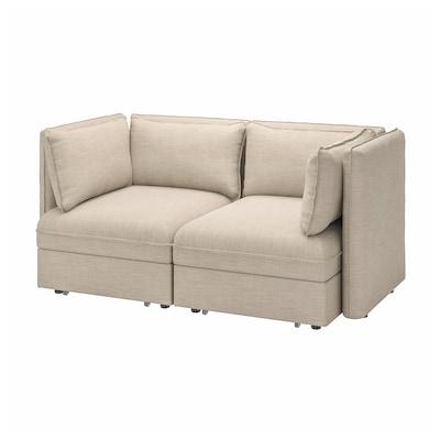 VALLENTUNA 2-seat modular sofa w 2 sofa-beds, Hillared beige