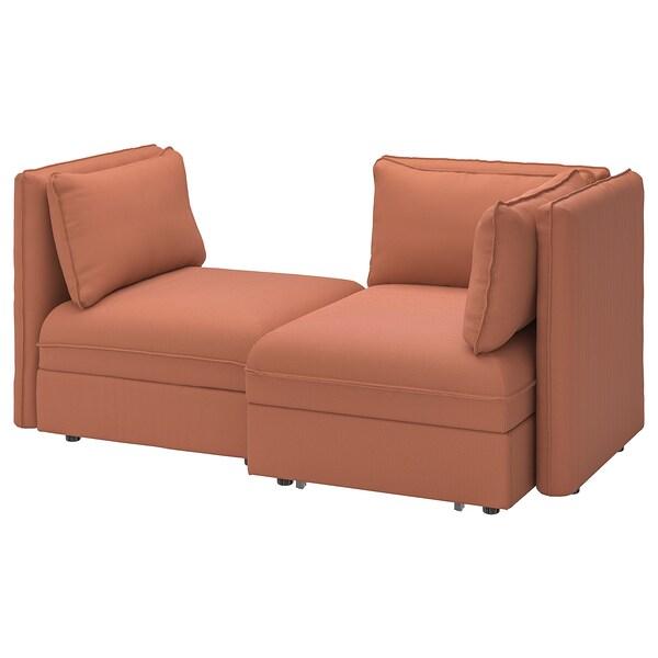 VALLENTUNA 2-seat modular sofa with sofa-bed, and storage/Kelinge rust