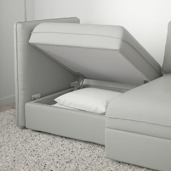 VALLENTUNA 2-seat modular sofa with storage/Ramna light grey 186 cm 113 cm 84 cm 100 cm 160 cm 45 cm