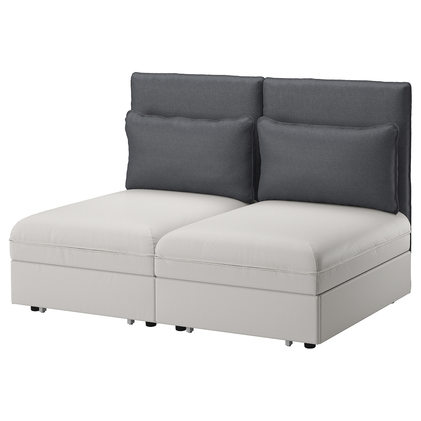 vallentuna 2 seat sofa with bed ramna light grey hillared dark grey ikea. Black Bedroom Furniture Sets. Home Design Ideas