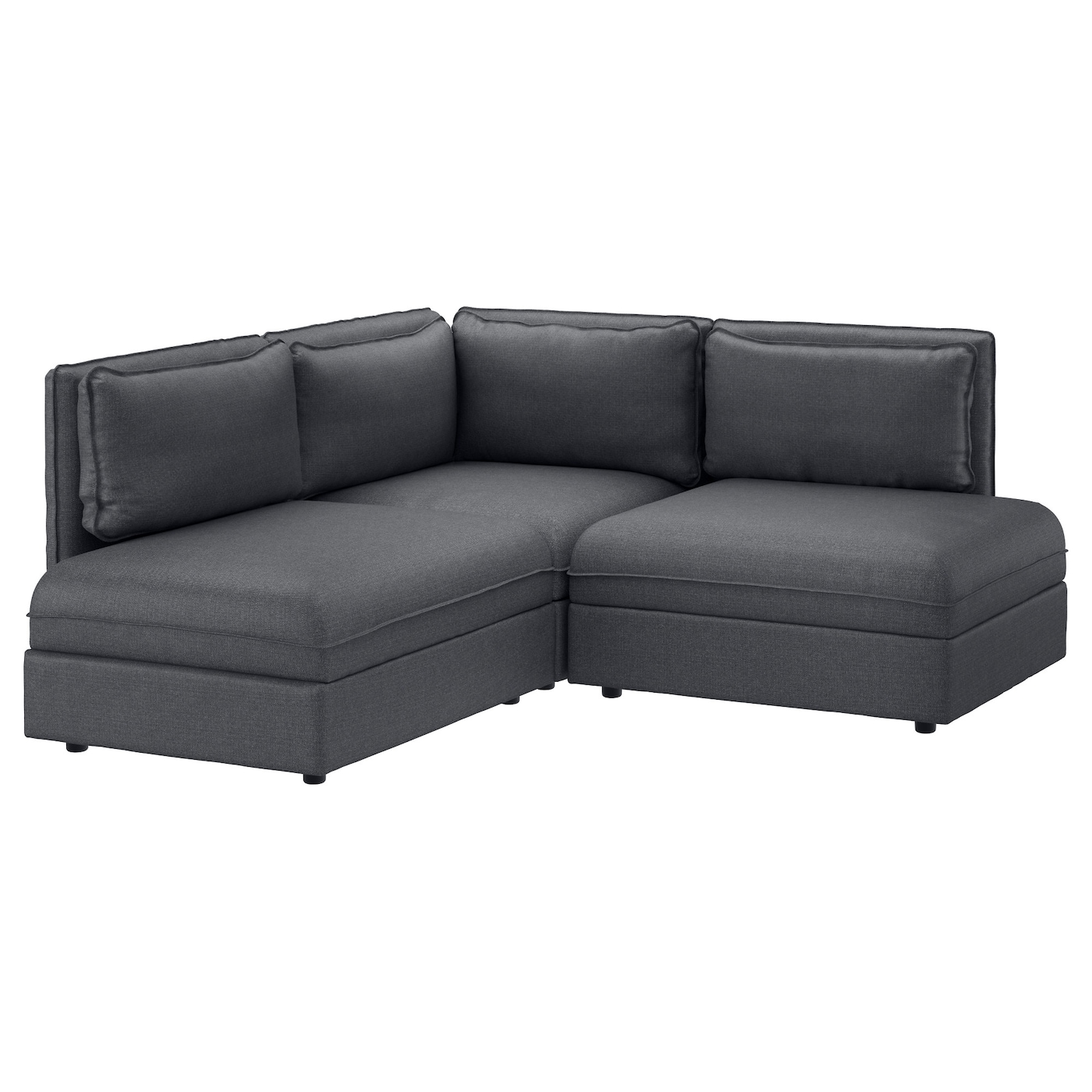 Vallentuna 3 seat corner sofa hillared dark grey ikea for Corner loveseats