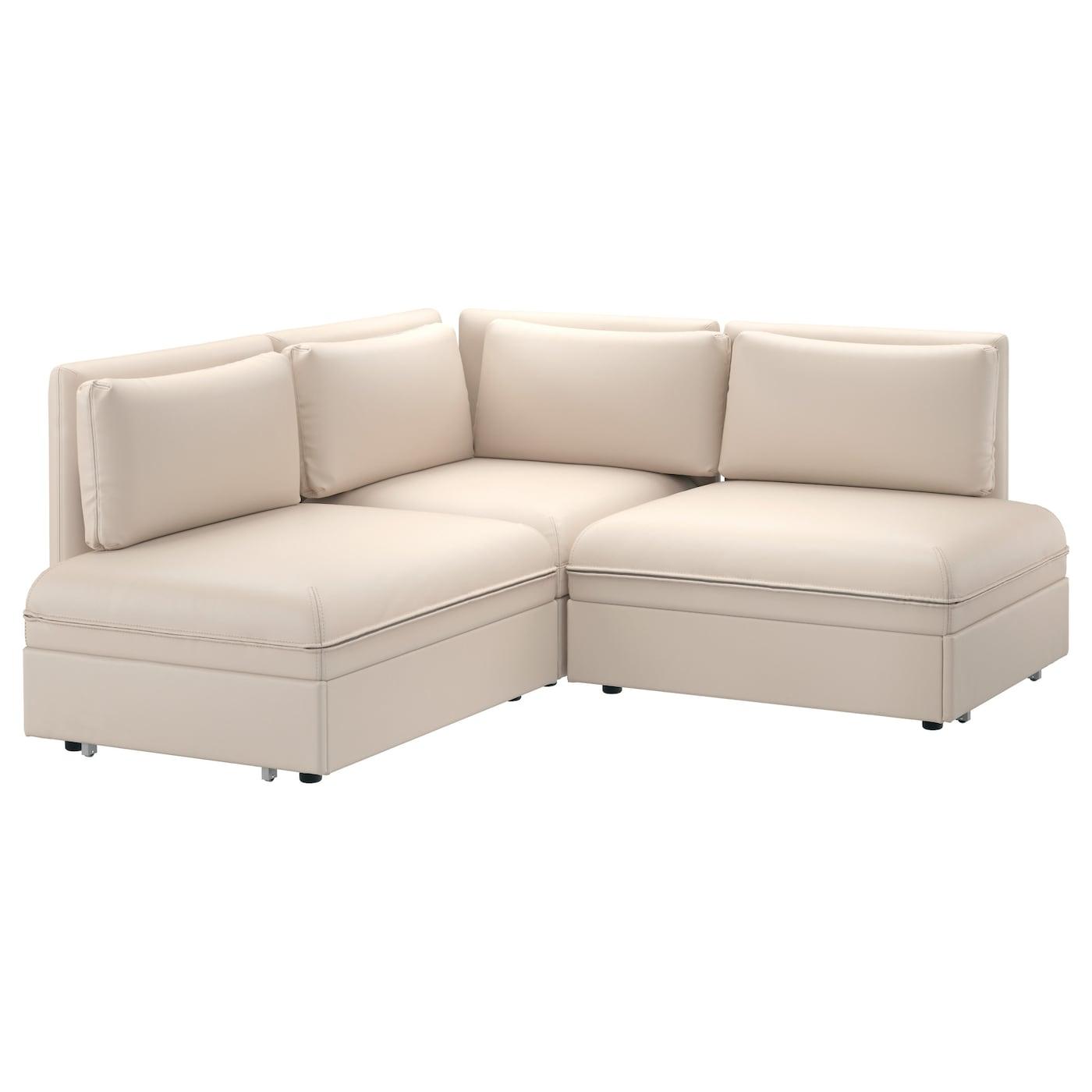 Vallentuna 3 seat corner sofa with bed murum beige ikea for Ikea armchair bed