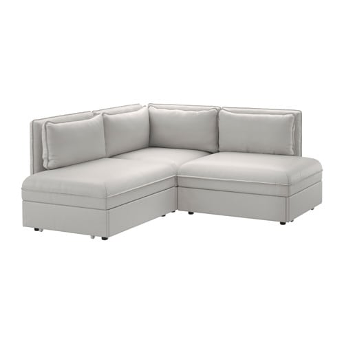 Vallentuna 3 Seat Corner Sofa With Bed Ramna Light Grey Ikea