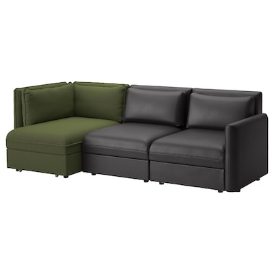 VALLENTUNA 3-seat modular sofa with sofa-bed, and storage/Murum/Ramna black/olive-green