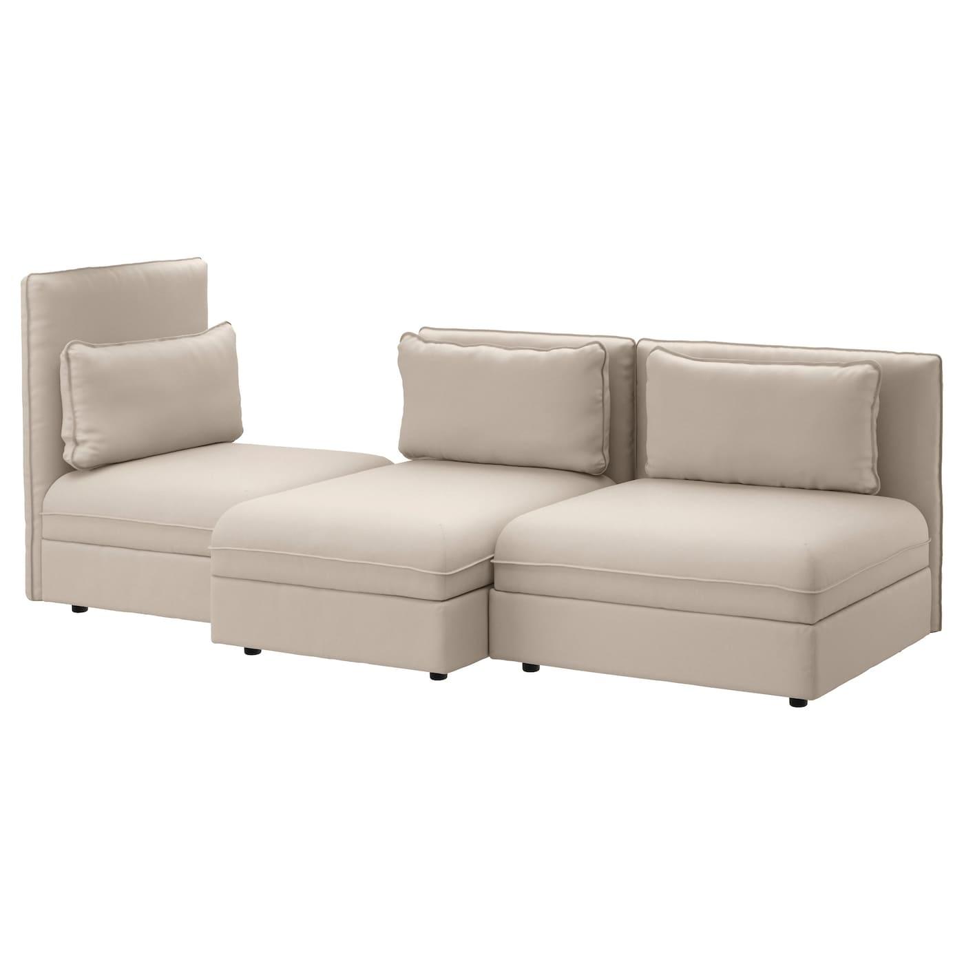 Vallentuna 3 seat sofa ramna dark beige ikea for Dark beige sectional sofa
