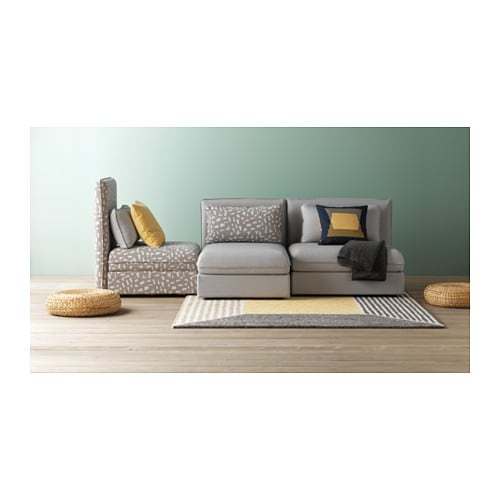 Vallentuna 3 seat sofa with bed ramna light grey funnarp - Vallentuna ikea ...