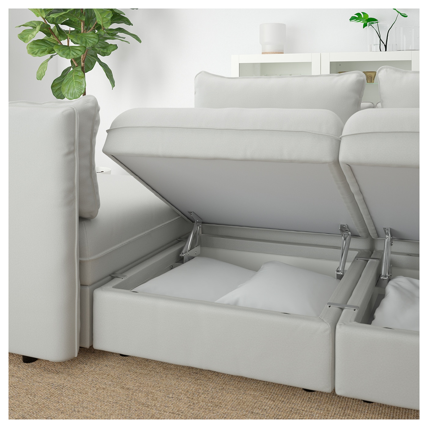 Vallentuna 3 seat sofa with bed ramna light grey ikea for Light gray sofa bed