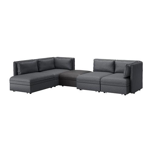VALLENTUNA 4-seat Modular Sofa W 3 Sofa-beds And Storage