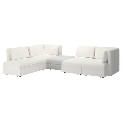 VALLENTUNA 4-seat modular sofa w 3 sofa-beds, and storage/Murum/Ramna white/light grey