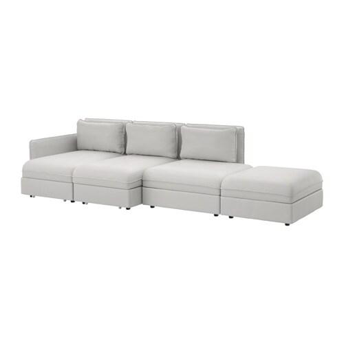 Vallentuna 4 Seat Sofa With Bed Ramna Light Grey Ikea