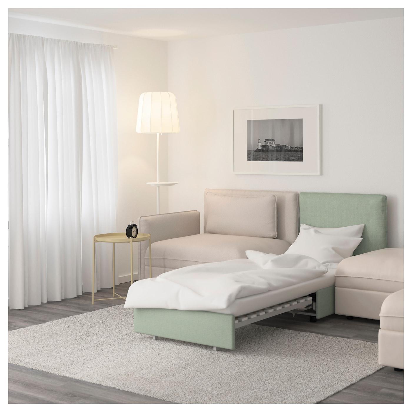 VALLENTUNA 5 seat sofa with bed Murum beige hillared green IKEA