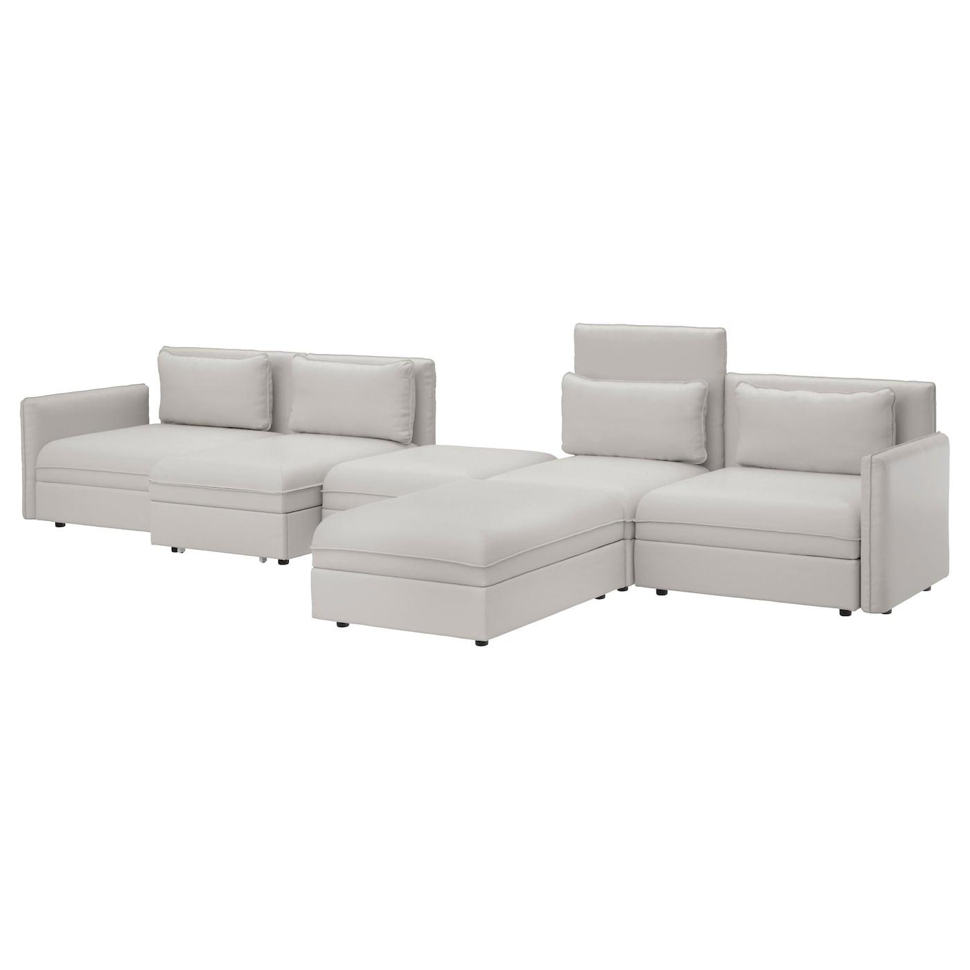 vallentuna 5 seat sofa with bed ramna light grey ikea. Black Bedroom Furniture Sets. Home Design Ideas