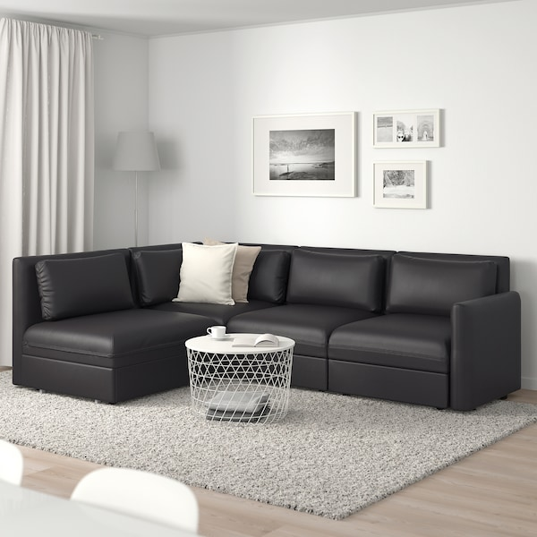VALLENTUNA Modular corner sofa 3-seat+sofa-bed, and storage/Murum black
