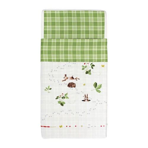 VANDRING IGELKOTT Quilt cover/pillowcase for cot, green/brown