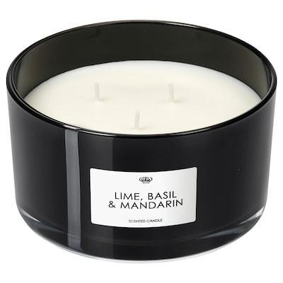 VANSKLIG Scented candle in glass, 3 wicks, Lime, basil and mandarin/black