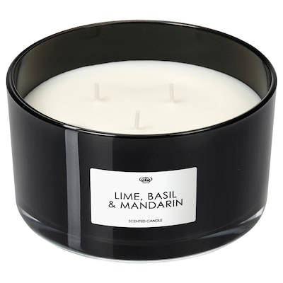 VANSKLIG scented candle in glass, 3 wicks Lime, basil and mandarin/black 25 hr 13 cm 7 cm